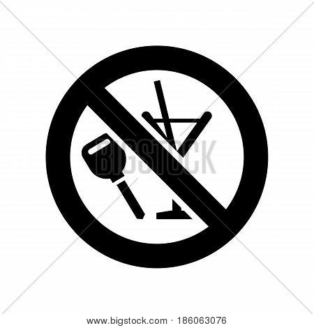 Sign No drink, icon isolated on white background flat style.