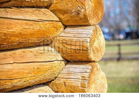 Details of log cabin corner joint with round logs and blurry spring landscape on the background at sunny spring day, Moscow, Russia