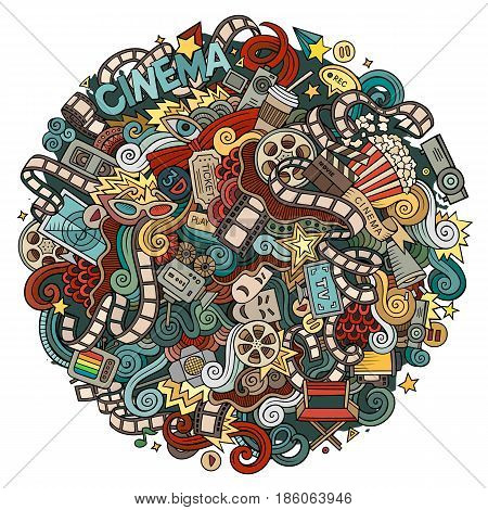 Cartoon cute doodles hand drawn Cinema illustration. Colorful detailed, with lots of objects background. Funny vector artwork. Bright colors picture with movie theme items