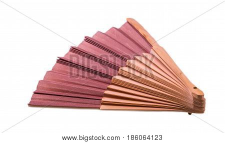 Traditional Japanese brown fan on white background