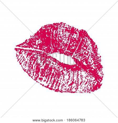 Sensual Isolated natural red imprint of lips. Lip impression