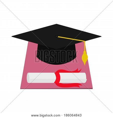 Vector illustration square academic cap and the diploma of graduation. Isolated white background. Flat style. Hat and graduate paper. Icon scholar degree.