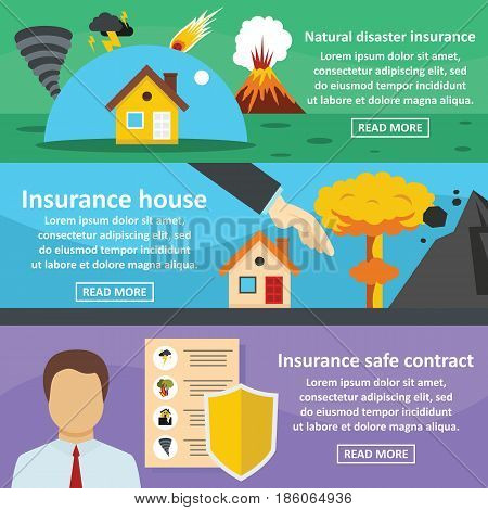 Insurance safe banner horizontal concept set. Flat illustration of 3 insurance safe vector banner horizontal concepts for web