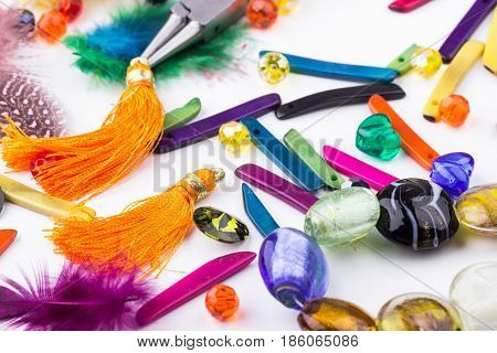 Glass Beads, Feathers, Components