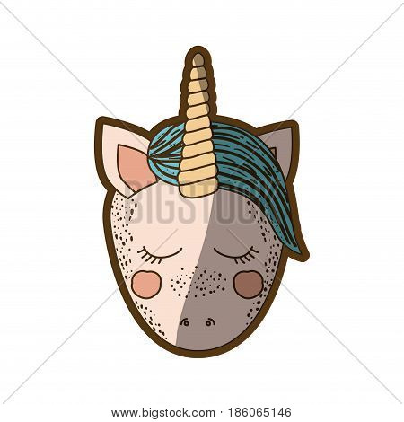 colorful thick contour of front face caricature unicorn with closed eyes and blue mane vector illustration