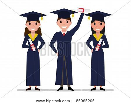 Vector cartoon student girl, boy graduate. Isolated white background. Character with square academic cap and diploma in hands. Man, woman received a degree, certificate, graduation. Flat style.