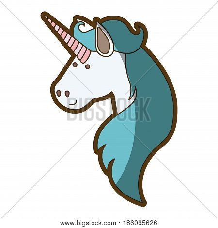 white background with face side view of male unicorn and long mane and thick contour vector illustration