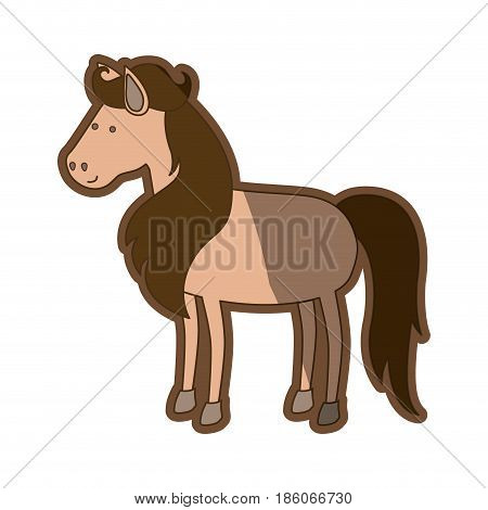 brown clear silhouette of horse with mane and tail brown vector illustration