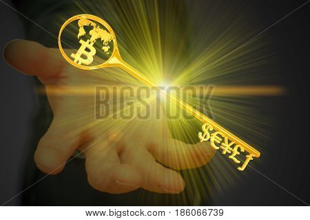 the golden key to the currency symbol and Bitcoin