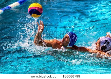The Players Of The Two Teams In Action During The Greek League Water Polo Game Paok Vs Glifada
