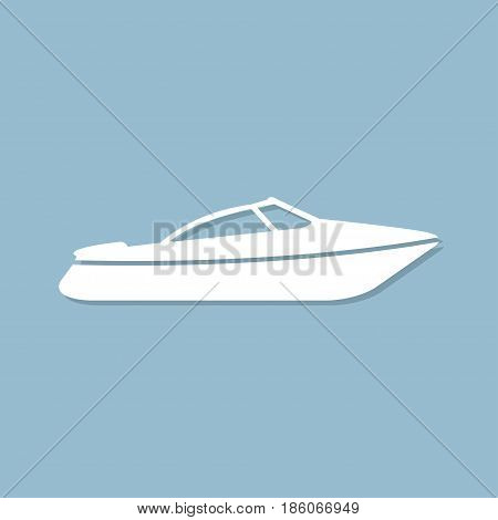 Motor speed boat icon with shadow in a flat design on a blue background
