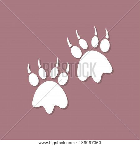 Animal paw imprint icon with shadow in a flat design
