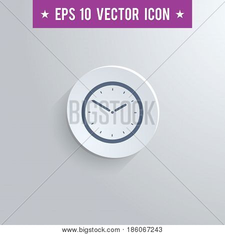 Stylish clock icon. Blue colored symbol on a white circle with shadow on a gray background. EPS10 with transparency.