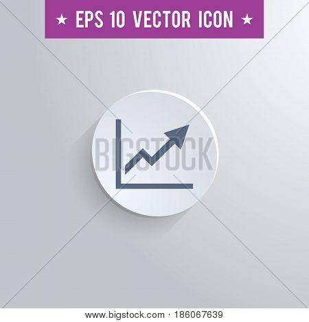 Stylish graph icon. Blue colored symbol on a white circle with shadow on a gray background. EPS10 with transparency.