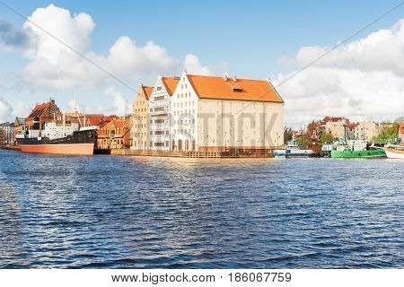 island Olowianka and ship harbour in old town of Gdansk, Poland