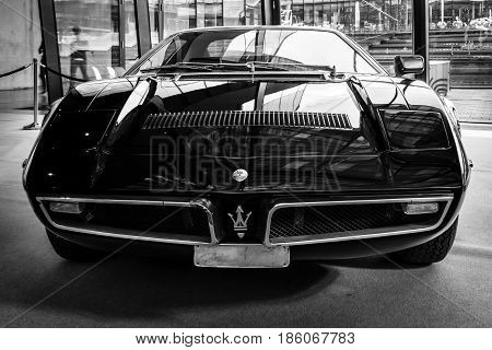STUTTGART GERMANY - MARCH 02 2017: Sports car Maserati Bora (Tipo 117) 1971. Black and white. Europe's greatest classic car exhibition