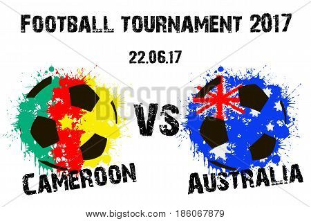 Banner Football Match Cameroon Vs Australia