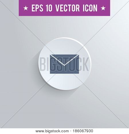 Stylish mail envelope icon. Blue colored symbol on a white circle with shadow on a gray background. EPS10 with transparency.