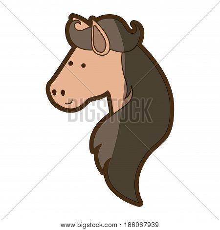 brown clear silhouette of face side view of horse with long mane vector illustration