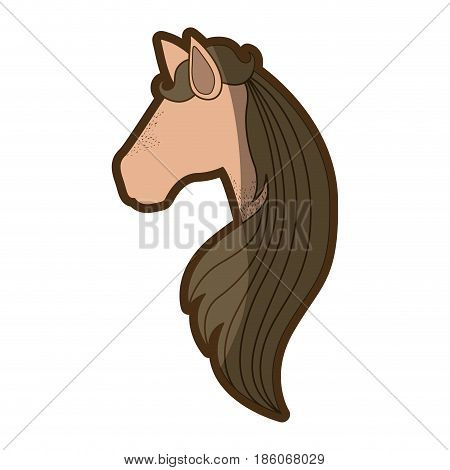 brown clear silhouette of faceless side view of female horse with long striped mane vector illustration