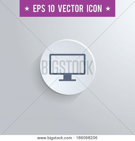 Stylish computer screen icon. Blue colored symbol on a white circle with shadow on a gray background. EPS10 with transparency.