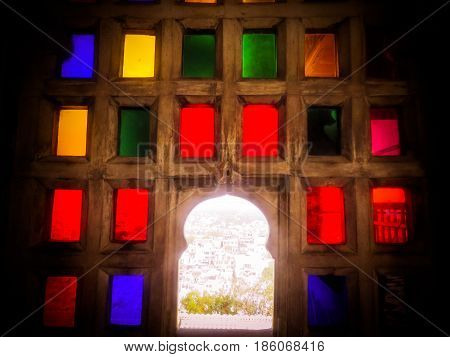 Colorful glass royal ancient windows in Rajasthan architechture