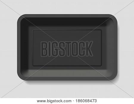 empty black plastic container template vector illustration