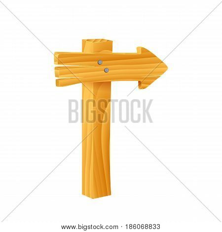 Vector illustration of a wooden signpost on white background