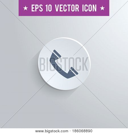 Stylish phone icon. Blue colored symbol on a white circle with shadow on a gray background. EPS10 with transparency.