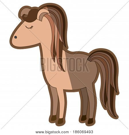 brown clear silhouette of cartoon female horse with colorful mane and tail vector illustration