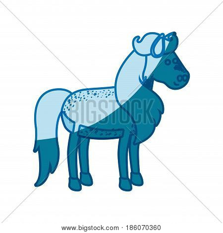 blue silhouette of horse with freckles and mane and tail vector illustration