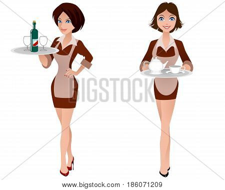 Vector illustration of a two cute waitress