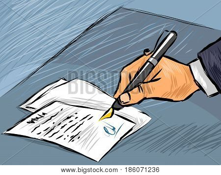 Vector illustration of a businessman signing act