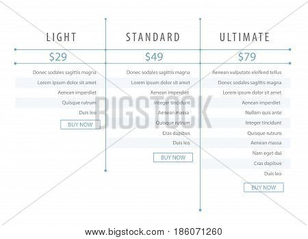 Minimalistic modern price list template for the website. Web development. Light blue colour