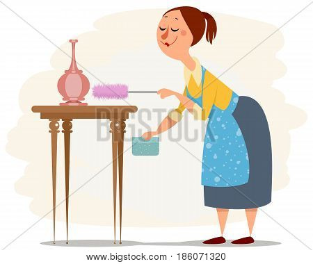 Vector illustration of a house maid working
