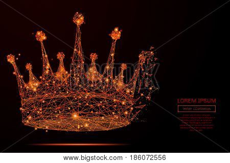 Abstract mash line and point crown in flames style on dark background with an inscription. Business strategy of a starry sky or space, consisting of stars and the universe. Vector illustration