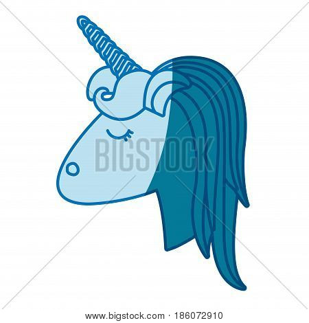 blue silhouette of face side view of female unicorn with striped mane vector illustration