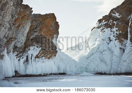 Icicles On Mare's Head Cape, Olkhon Island. Winter Landscape