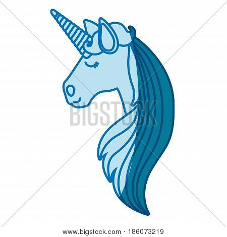 blue silhouette of of face side view of female unicorn and long striped mane vector illustration
