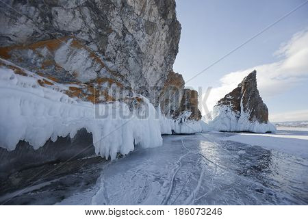 Mare's Head Cape Winter Landscape, Lake Baikal, Olkhon Island