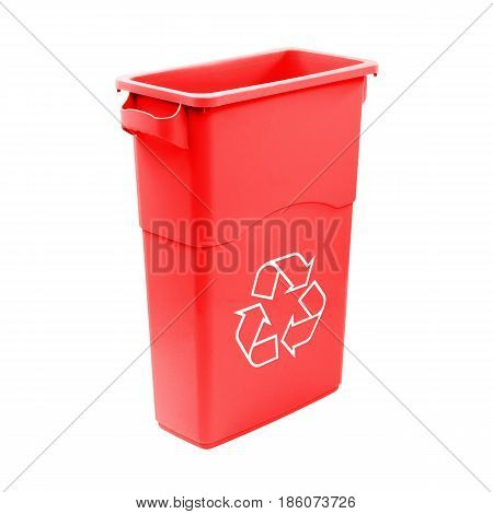 Red Recycle Bin Isolated On White Background. Plastic Waste Disposal Bin. Trash Can