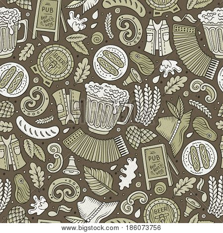 Cartoon cute hand drawn Beer fest seamless pattern. Monochrome with lots of objects background. Endless funny vector illustration