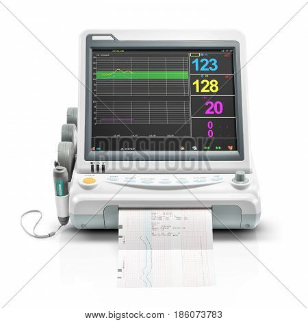 Vital Signs Monitor Device Isolated On White Background. Medical Diagnostic Equipment. Monitoring De