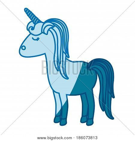 blue silhouette of cartoon unicorn standing with closed eyes and striped mane vector illustration