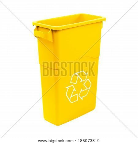 Yellow Recycle Bin Isolated On White Background. Plastic Waste Disposal Bin. Trash Can