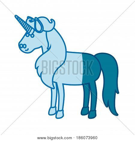 blue silhouette of cartoon unicorn standing with long mane vector illustration