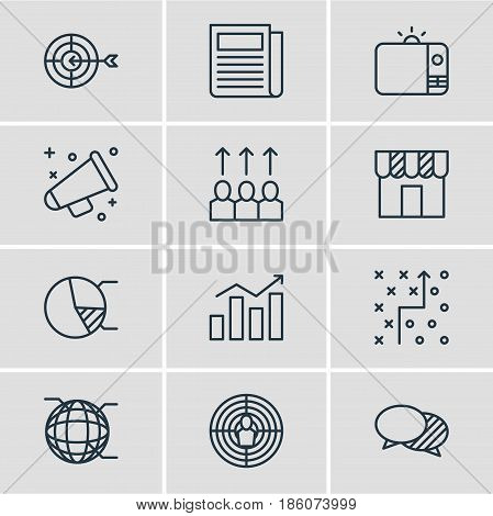 Vector Illustration Of 12 Advertising Icons. Editable Pack Of Circle Diagram, Aiming, Discussing And Other Elements.