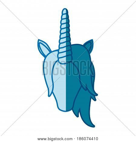 blue silhouette of front face of faceless unicorn with mane vector illustration