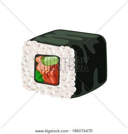 Sushi roll with nori, rice and salmon, traditional Japanese cuisine. Colorful cartoon illustration isolated on a white background