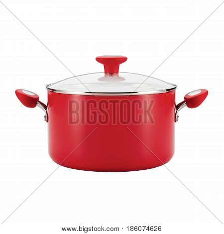 Red Enamel Coating Nonstick Stockpot With Glass Lid Isolated On White Background. Cooking Pots. Cook